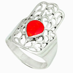 4.25gms red coral enamel 925 silver hand of god hamsa ring size 7 c12133