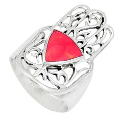 4.69gms red coral enamel 925 silver hand of god hamsa ring size 7 c26152