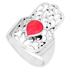 5.02gms red coral enamel 925 silver hand of god hamsa ring size 9 a93314 c13176