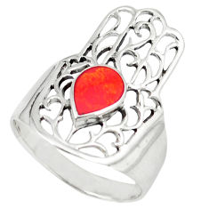4.69gms red coral enamel 925 silver hand of god hamsa ring size 9 c11991