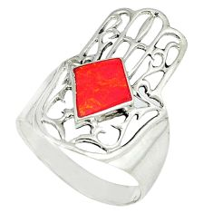 4.69gms red coral enamel 925 silver hand of god hamsa ring size 9 c11994