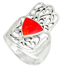 5.26gms red coral enamel 925 silver hand of god hamsa ring size 9 c11997