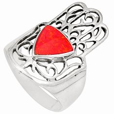 5.23gms red coral enamel 925 silver hand of god hamsa ring size 9 c12000