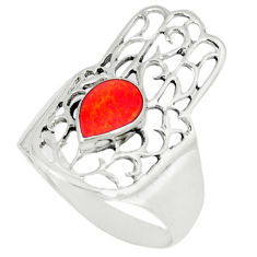 4.26gms red coral enamel 925 silver hand of god hamsa ring size 9 c12131
