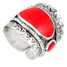 Red coral enamel 925 sterling silver adjustable ring jewelry size 6.5 c22343