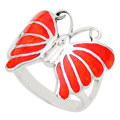 Red coral enamel 925 sterling silver butterfly ring size 6.5 c12832