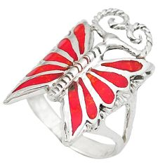 Red coral enamel 925 sterling silver butterfly ring jewelry size 5.5 c12200