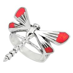 5.03gms red coral enamel 925 sterling silver dragonfly ring size 5.5 c12230