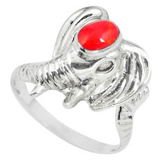 5.02gms red coral enamel 925 sterling silver elephant ring size 7.5 c12216