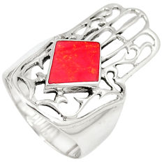 Red coral enamel 925 sterling silver hand of god hamsa ring size 6 c12123