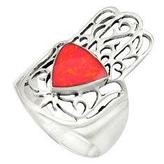 Red coral enamel 925 sterling silver hand of god hamsa ring size 7 c12134