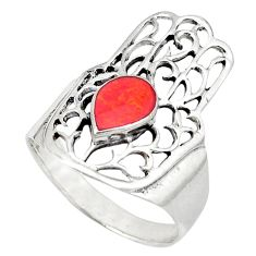 Red coral enamel 925 sterling silver hand of god hamsa ring size 9 c12138