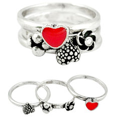 Red coral enamel 925 sterling silver heart stackable 3 rings size 7 c20949