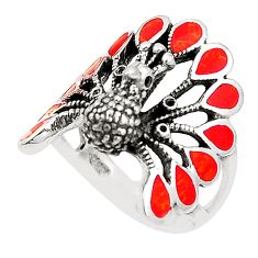 Red coral enamel 925 sterling silver peacock ring size 7.5 c12404