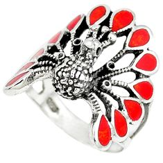 Red coral enamel 925 sterling silver peacock ring size 7.5 c12414