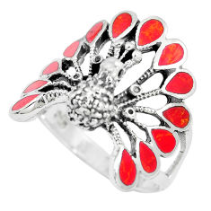 7.69gms red coral enamel 925 sterling silver peacock ring size 9.5 c12420