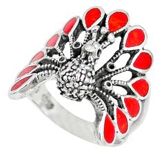 Red coral enamel 925 sterling silver peacock ring jewelry size 7.5 c12403