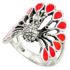 Red coral enamel 925 sterling silver peacock ring jewelry size 9 c11889
