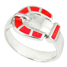 4.02gms red coral enamel 925 sterling silver ring jewelry size 5.5 a45881 c15152