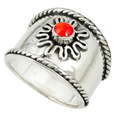 Red coral enamel 925 sterling silver ring jewelry size 5.5 c12007