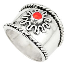6.87gms red coral enamel 925 sterling silver ring jewelry size 5.5 c12011