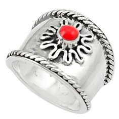 Red coral enamel 925 sterling silver ring jewelry size 5.5 c12018