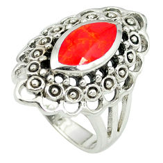 Red coral enamel 925 sterling silver ring jewelry size 6.5 c12026