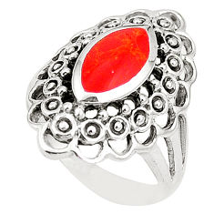 Red coral enamel 925 sterling silver ring jewelry size 6.5 c12034