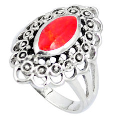 Red coral enamel 925 sterling silver ring jewelry size 8.5 c12037
