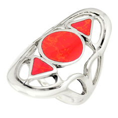 Red coral enamel 925 sterling silver ring jewelry size 6.5 c12109