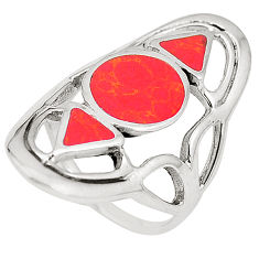 6.87gms red coral enamel 925 sterling silver ring jewelry size 6.5 c12119