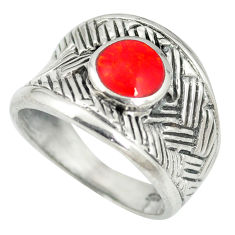 Red coral enamel 925 sterling silver ring jewelry size 7.5 c12162