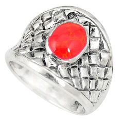 Red coral enamel 925 sterling silver ring jewelry size 5.5 c12168