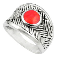 Red coral enamel 925 sterling silver ring jewelry size 8.5 c12170