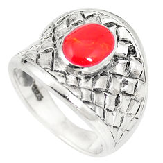 6.69gms red coral enamel 925 sterling silver ring jewelry size 5.5 c12176