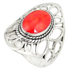 Red coral enamel 925 sterling silver ring jewelry size 7.5 c12334
