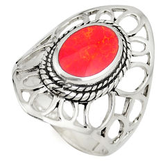 Red coral enamel 925 sterling silver ring jewelry size 8.5 c12335
