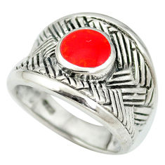 Red coral enamel 925 sterling silver ring jewelry size 6.5 c12353