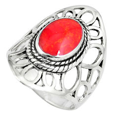 5.48gms red coral enamel 925 sterling silver ring jewelry size 7.5 c12762