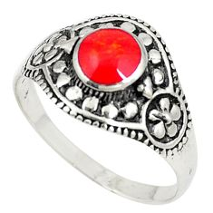 Red coral enamel 925 sterling silver ring jewelry size 9.5 c22337