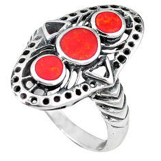 Red coral enamel 925 sterling silver ring jewelry size 6 c11951