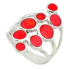 Red coral enamel 925 sterling silver ring jewelry size 6 c12369