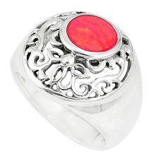 6.87gms red coral enamel 925 sterling silver ring jewelry size 6 c12899
