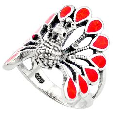 Red coral enamel 925 sterling silver ring jewelry size 7 c11882