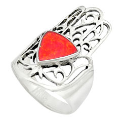 Red coral enamel 925 sterling silver ring jewelry size 7 c11984