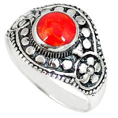 Red coral enamel 925 sterling silver ring jewelry size 7 c12280