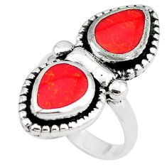Red coral enamel 925 sterling silver ring jewelry size 7 c12372