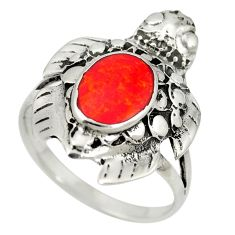 Red coral enamel 925 sterling silver ring jewelry size 8 c11936
