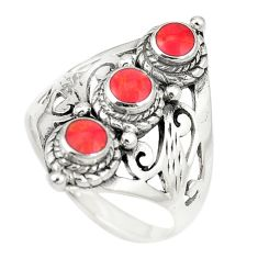 Red coral enamel 925 sterling silver ring jewelry size 8 c11949