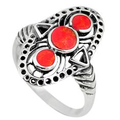 Red coral enamel 925 sterling silver ring jewelry size 8 c11958
